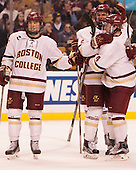 Michael Kim (BC - 27), Steve Santini (BC - 6), Teddy Doherty (BC - 4) - The Boston College Eagles defeated the Harvard University Crimson 3-2 in the opening round of the Beanpot on Monday, February 1, 2016, at TD Garden in Boston, Massachusetts.