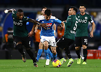 1st December 2019; Stadio San Paolo, Naples, Campania, Italy; Serie A Football, Napoli versus Bologna; Hirving Lozano of Napoli is challenged by Stefano Denswil of Bologna - Editorial Use