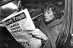 Annie Murphy, Bishop Eamonn Casey's lover pictured on her first return to Ireland after the scandal broke reading a copy of The Kerry People, published by Harry MacMonagle in 1993..Picture by Don MacMonagle