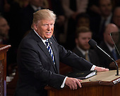 United States President Donald J. Trump delivers his first address to a joint session of the US Congress in the US Capitol in Washington, DC, February 28, 2017. <br /> Credit: Chris Kleponis / CNP
