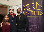 "Stephanie Mills, Lin-Manuel Miranda and BeBe Winans backstage after a Song preview performance of the Bebe Winans Broadway Bound Musical ""Born For This"" at Feinstein's 54 Below on November 5, 2018 in New York City."