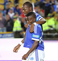 BOGOTA -COLOMBIA- 13 -11--2013. Yuber Asprilla  de Millonarios celebra su gol contra el Atletico Nacional , encuentro de ida por la final de la Copa Postobon jugado en el estadio Nemesio Camacho El Campin   /  Yuber Asprilla of Millonarios celebrates his goal against Atletico Nacional, first leg by Postobón Cup final played at the Estadio Nemesio Camacho El Campin .Photo: VizzorImage / Felipe Caicedol / Staff