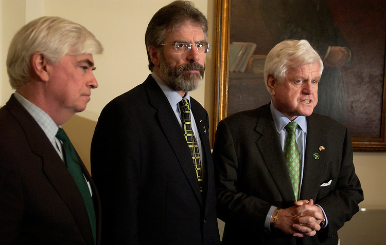 President of Sinn Fein Gerry Adams, center, attends a photo-op after a meeting with Sens. Chris Dodd, D-Conn., left, and Ted Kennedy, D-Mass.