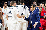 Real Madrid Klemen Prepelic and CSKA Moscow coach Dimitris Itoudis during Turkish Airlines Euroleague match between Real Madrid and CSKA Moscow at Wizink Center in Madrid, Spain. November 29, 2018. (ALTERPHOTOS/Borja B.Hojas)