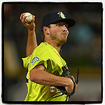 Pitcher Taylor Henry (22) of the Columbia Fireflies struck out three in relief in a game against the Greenville Drive on Friday, May 25, 2018, at Spirit Communications Park in Columbia, South Carolina. Columbia won, 3-1. (Tom Priddy/Four Seam Images)
