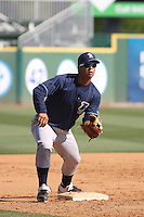 Wilmington Blue Rocks 3rd Baseman Cheslor Cuthbert #23 fielding before a game against the Myrtle Beach Pelicans at Tickerreturn.com Field at Pelicans Ballpark on April 8, 2012 in Myrtle Beach, South Carolina. Wilmington defeated  Myrtle Beach 3-2. (Robert Gurganus/Four Seam Images)