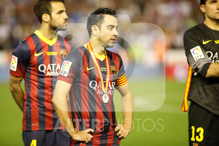 F.C. Barcelona´s Xavi Hernandez after losing the Spanish Copa del Rey `King´s Cup´ final soccer match between Real Madrid and F.C. Barcelona at Mestalla stadium, in Valencia, Spain. April 16, 2014. (ALTERPHOTOS/Victor Blanco)