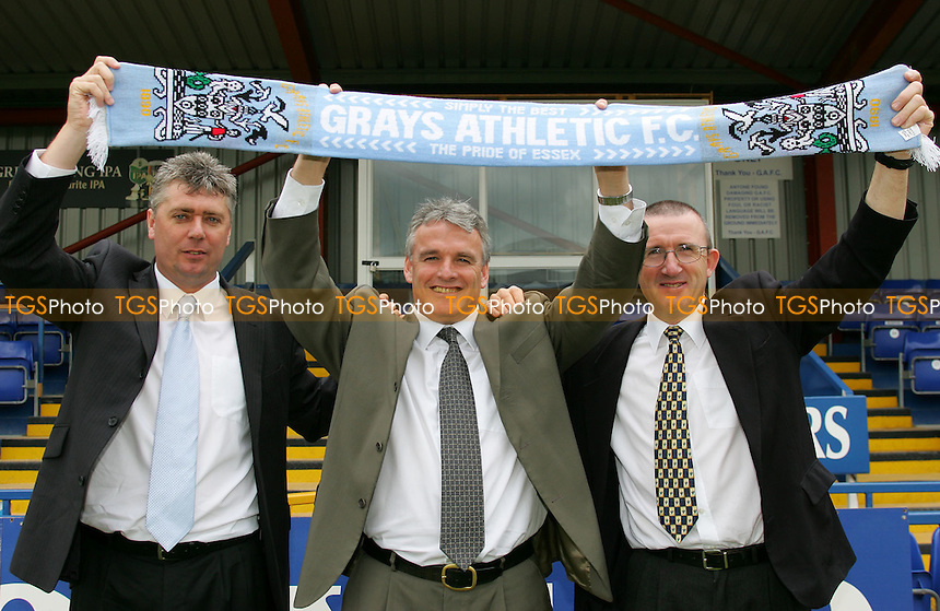 From L to R - Gerry Murphy (Assistant Manager), Frank Gray (Manager) and Steve Snelling (Physio) - Grays Athletic Football Club - 25/05/06