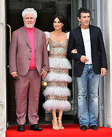 """LONDON, UK, AUGUST 08: Pedro Almodovar, Penelope Cruz and Antonio Banderas attend the opening night of Film4 Summer Screen at Somerset House featuring the UK Premiere of """"Pain And Glory"""" on August 8, 2019 in London, England. <br /> CAP/JOR<br /> ©JOR/Capital Pictures"""