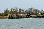 APRIL 14, 2020: Hart Island ferry dock, in The Bronx.  Hart Island is New York City's Potters Field, were unclaimed bodies, including those COVID 19 victims, go to be buried. The Bronx,  NY.  Sue Kawczynski-Eclipse Sportswire