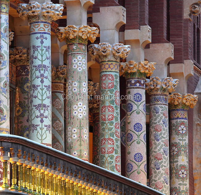Multicolored glazed tile pieces of the colonnade on the second-level balcony, Palau de la Musica Catalana, 1908, Lluis Domenech i Montaner, Barcelona, Spain. Picture by Manuel Cohen