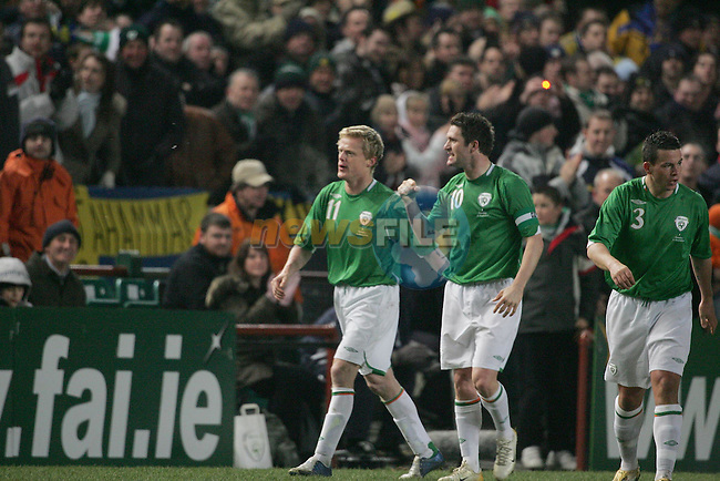 Dublin Ireland, Irelands No 11 Damien Duff celebrating with Irelands No 10 Robbie Kean after scoring against Sweden during the friendly international match in Lansdowne Road Dublin 1/3/06..Photo AFP/NEWSFILE/FRAN CAFFREY..(Photo credit should read AFP PHOTO/FRAN CAFFREY/NEWSFILE)...This Picture has been sent you under the condtions enclosed by:.Newsfile Ltd..the Studio,.Millmount Abbey,.Drogheda,.Co Meath..Ireland..Tel: +353(0)41-9871240.Fax: +353(0)41-9871260.GSM: +353(0)86-2500958.email: pictures@newsfile.ie.www.newsfile.ie.FTP: 193.120.102.198..This picture is from Fran Caffrey@newsfile.ie