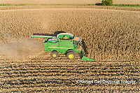 63801-12605 Harvesting corn in fall-aerial  Marion Co. IL