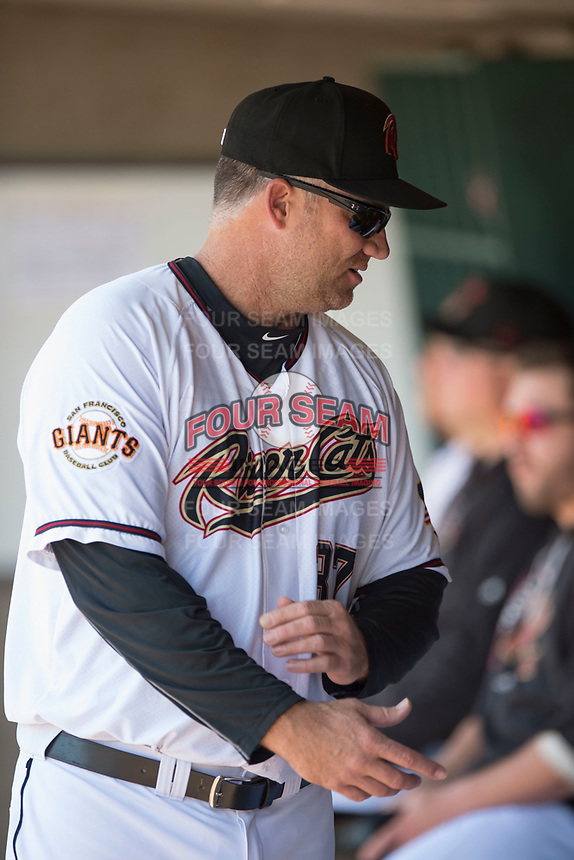 Sacramento RiverCats hitting coach Damon Minor (37) talks to his players during a Pacific Coast League against the Tacoma Rainiers at Raley Field on May 15, 2018 in Sacramento, California. Tacoma defeated Sacramento 8-5. (Zachary Lucy/Four Seam Images)