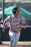 Blake Rutherford (24) of Chaminade High School runs to first base during a game against Harvard Westlake High School at O'Malley Field on March 16, 2016 in Encino, California. (Larry Goren/Four Seam Images)