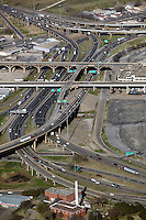 aerial photography of the Houston Viaduct and Jefferson Blvd Trinity river crossings at the interchange of US route 77 and interestate I-80, Dallas, Texas