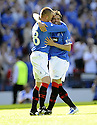 31/05/2009  Copyright  Pic : James Stewart.sct_jspa_49_rangers_v_falkirk.NACHO NOVO IS CONGRATULATED BY KENNY MILLER AFTER SCORING THE ONLY GOAL OF THE GAME.James Stewart Photography 19 Carronlea Drive, Falkirk. FK2 8DN      Vat Reg No. 607 6932 25.Telephone      : +44 (0)1324 570291 .Mobile              : +44 (0)7721 416997.E-mail  :  jim@jspa.co.uk.If you require further information then contact Jim Stewart on any of the numbers above.........
