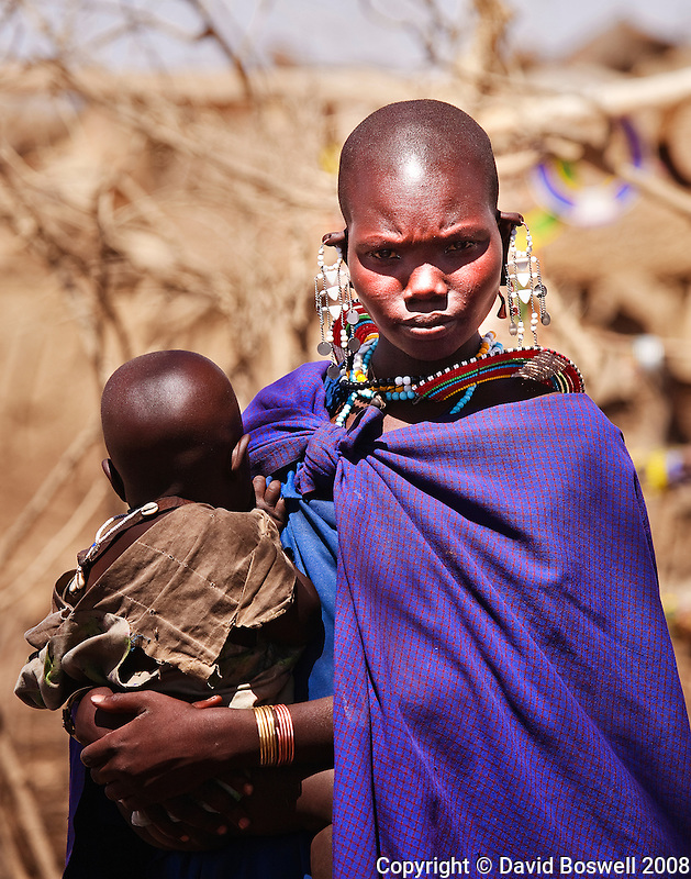 A Maasai mother jolds her child in a small village in the Ngorongoro Conservation Area in Tanzania.