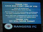 Message from Rangers to the supporters on the giant screens at full time