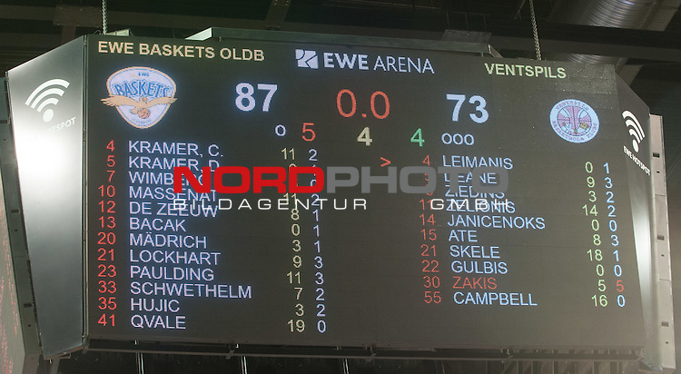 09.12.2016, EWE Arena, Oldenburg, GER, Basketball Champions League, EWE Baskets Oldenburg vs BK Ventsplis, im Bild<br /> Anzeigentafel mit dem Endstand Sieg fuer die EWE Bakets Oldenburg!<br />  ( BK Ventspilis # )    (EWE Baskets Oldenburg # )<br /> Foto &copy; nordphoto / Rojahn