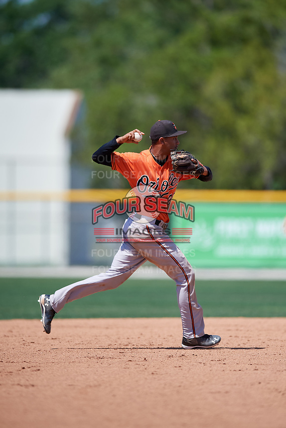 Baltimore Orioles Irving Ortega (26) throws to first base during a minor league Spring Training game against the Tampa Bay Rays on March 29, 2017 at the Buck O'Neil Baseball Complex in Sarasota, Florida.  (Mike Janes/Four Seam Images)