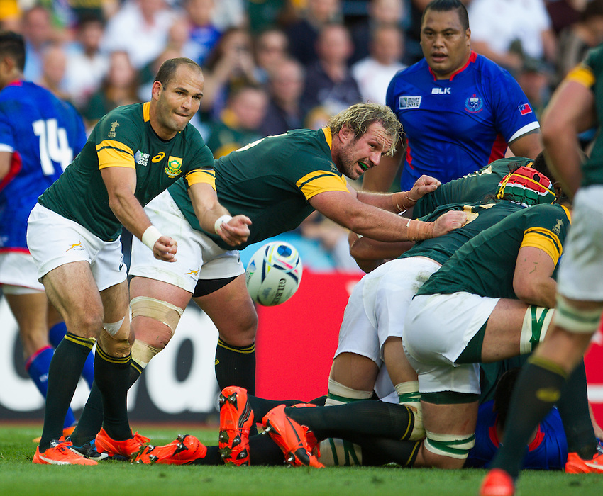 South Africa's Fourie du Preez in action during todays match<br /> <br /> Photographer Craig Thomas /CameraSport<br /> <br /> Rugby Union - 2015 Rugby World Cup Pool B  South Africa v Samoa - Saturday 26th September 2015 - Villa Park - Birmingham<br /> <br /> &copy; CameraSport - 43 Linden Ave. Countesthorpe. Leicester. England. LE8 5PG - Tel: +44 (0) 116 277 4147 - admin@camerasport.com - www.camerasport.com
