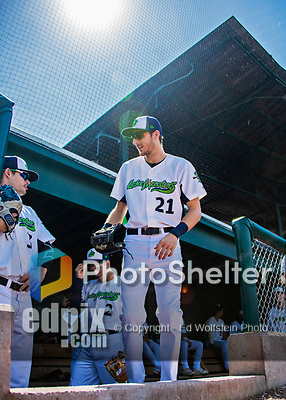 3 September 2018: Vermont Lake Monsters outfielder Devin Foyle prepares to take the field prior to a game against the Tri-City ValleyCats at Centennial Field in Burlington, Vermont. The Lake Monsters defeated the ValleyCats 9-6 in the last game of the 2018 NY Penn League regular season. Mandatory Credit: Ed Wolfstein Photo *** RAW (NEF) Image File Available ***