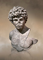 Roman statue of Antinous. Marble. Perge. 2nd century AD. Inv no . Antalya Archaeology Museum; Turkey. Against a warm art background.