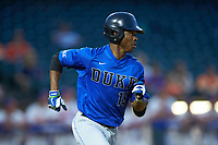 Kennie Taylor (15) of the Duke Blue Devils hustles down the first base line against the Clemson Tigers in Game Three of the 2017 ACC Baseball Championship at Louisville Slugger Field on May 23, 2017 in Louisville, Kentucky. The Blue Devils defeated the Tigers 6-3. (Brian Westerholt/Four Seam Images)