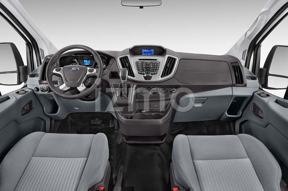 Stock photo of straight dashboard view of a 2015 Ford Transit 150 Van 2 Door  Dashboard