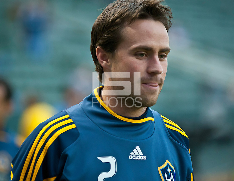 CARSON, CA – May 14, 2011: LA Galaxy defender Todd Dunivant (2) before the match between LA Galaxy and Sporting Kansas City at the Home Depot Center in Carson, California. Final score LA Galaxy 4, Sporting Kansas City 1.