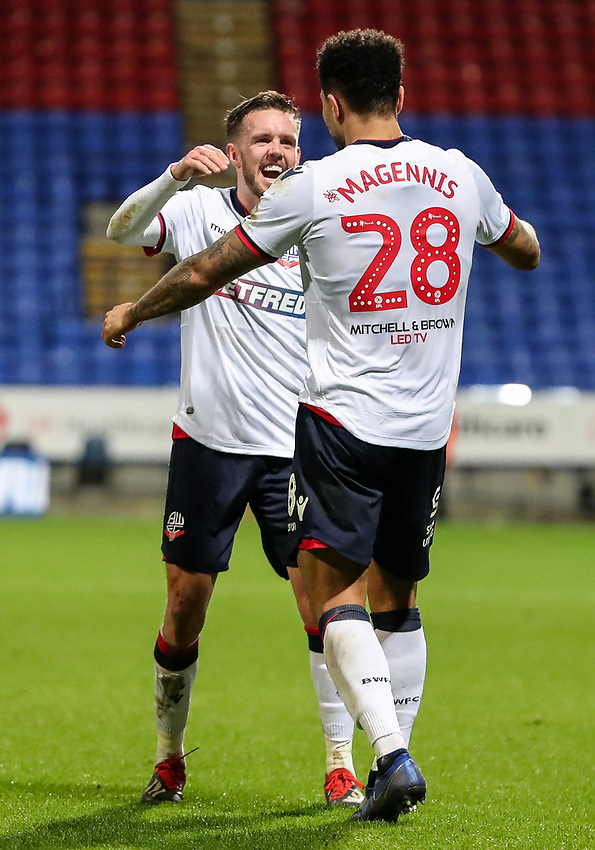 Bolton Wanderers' Josh Magennis celebrates scoring his side's fourth goal with team mate Craig Noone<br /> <br /> Photographer Andrew Kearns/CameraSport<br /> <br /> Emirates FA Cup Third Round - Bolton Wanderers v Walsall - Saturday 5th January 2019 - University of Bolton Stadium - Bolton<br />  <br /> World Copyright © 2019 CameraSport. All rights reserved. 43 Linden Ave. Countesthorpe. Leicester. England. LE8 5PG - Tel: +44 (0) 116 277 4147 - admin@camerasport.com - www.camerasport.com