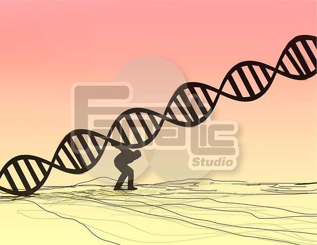 Concept image of a man carrying a D.N.A.Chain molecule on his back representing hereditary genetic disease