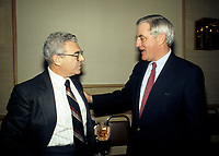 FILE PHOTO - Simon Reisman, Canada's chief free-trade negotiator with the United States in the 1980s  (L) and Walter Mondale<br /> circa 1987.<br /> <br /> Reisman died at 88 in march 2008<br /> <br /> PHOTO :   Agence quebec Presse