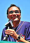 4 July 2010: Dressed in a Washington Nationals jersey, American actor Jimmy Smits greets fans prior to a game against the New York Mets at Nationals Park in Washington, DC. The Mets defeated the Nationals 9-5 in the fourth game and splitting their 4-game series. Mandatory Credit: Ed Wolfstein Photo