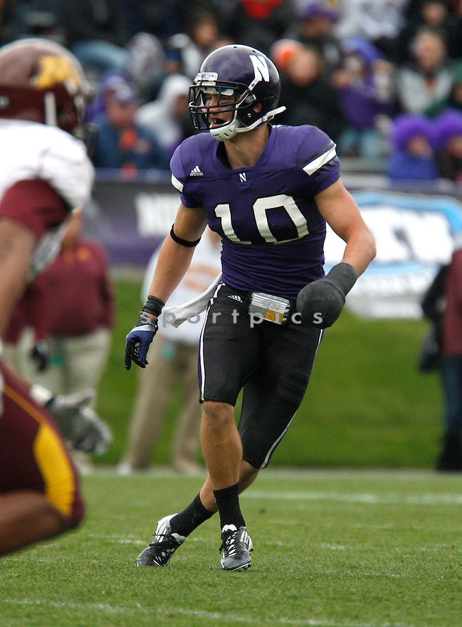 BRIAN PETERS, of the Northwestern Wildcats, in action during Northwestern's  game against the Minnesota Golden Gophers on November 19, 2011 at Ryan Field in Evanston, IL. Northwestern beat Minnesota 28-13.