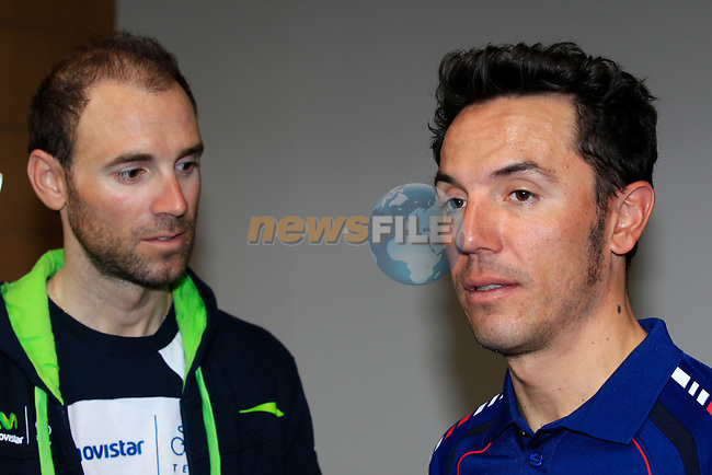 Alejandro Valverde (ESP) Movistar Team and Joaquim Rodriguez (ESP) Katusha at a press conference held before the inaugural Dubai Tour 2014 in the Dubai World Trade Centre, Dubai. 4th February 2014.<br /> Picture: Eoin Clarke www.newsfile.ie