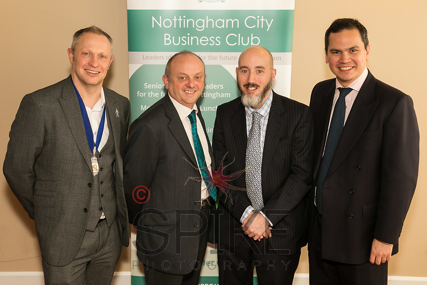 Pictured left to right are NCBC President Mark Deakin with guest speaker Professor Edward Peck of the Nottingham Trent University, Luke Appleby and Dennis Phillips both of sponsors Buckles