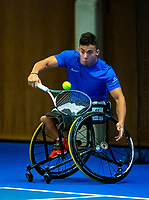Alphen aan den Rijn, Netherlands, December 14, 2018, Tennispark Nieuwe Sloot, Ned. Loterij NK Tennis,  Wheelchair men's doubles :  Carlos Anker (NED)<br /> Photo: Tennisimages/Henk Koster