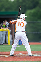 Conner Wilson (10) of the Asheboro Copperheads at bat against the Gastonia Grizzlies at McCrary Park on June 1, 2015 in Asheboro, North Carolina.  The Copperheads defeated the Grizzlies 11-6. (Brian Westerholt/Four Seam Images)