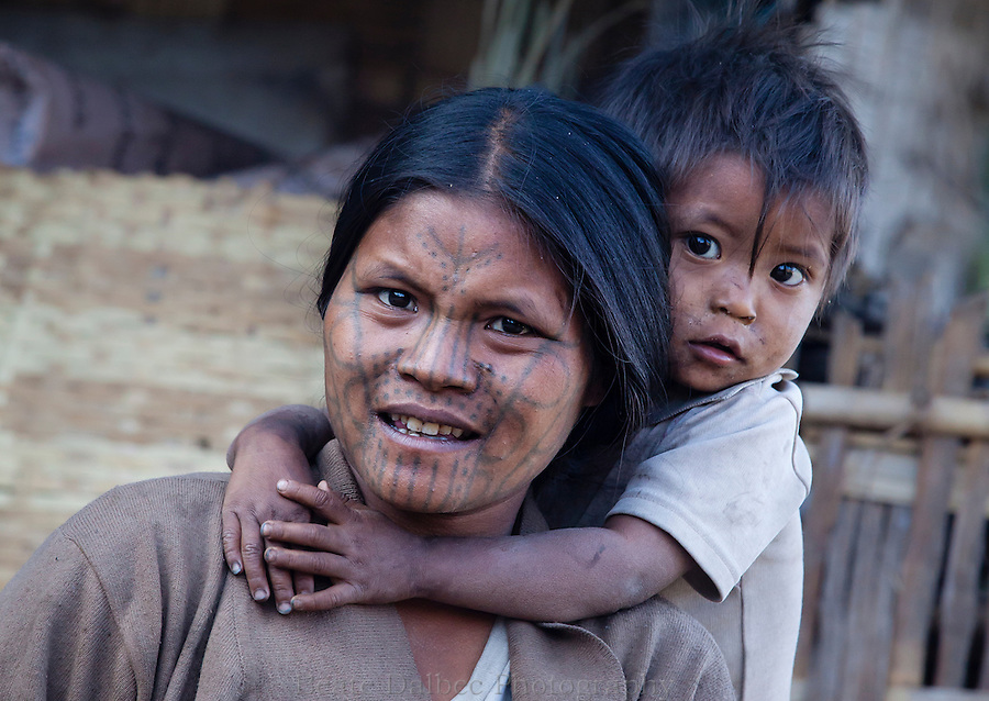 Mother and child in the Chin hills, Myanmar