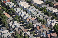 Aerial view housing rows, Somerville, MA