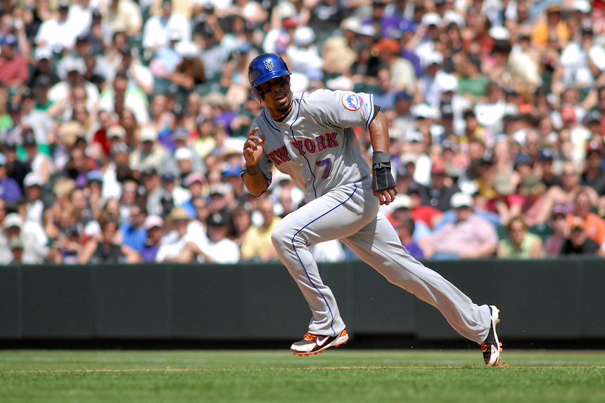 25 May 2008: New York Mets shortstop Jose Reyes runs towards 2nd base during a game against the Colorado Rockies. The Rockies defeated the Mets 4-1 at Coors Field in Denver, Colorado. FOR EDITORIAL USE ONLY. FOR EDITORIAL USE ONLY