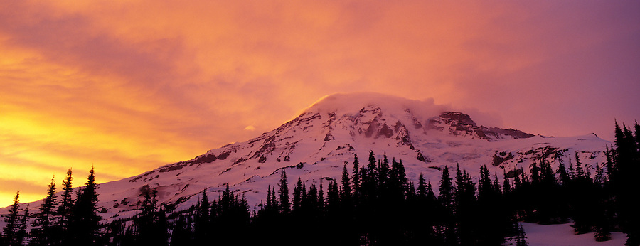 Mount Rainier and clouds lit by sunset, Mount Rainier National Park, Pierce County, Washington, USA
