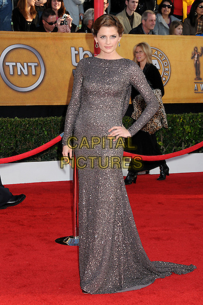 STANA KATIC.16th Annual Screen Actors Guild Awards - Arrivals held at The Shrine Auditorium, Los Angeles, California, USA..January 23rd, 2009.SAG SAGs full length silver grey gray beads beaded maxi dress long sleeves sleeved hand on hip.CAP/ADM/BP.©Byron Purvis/Admedia/Capital Pictures