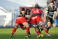 Matt Banahan of Bath Rugby takes on the Toulon defence. European Rugby Champions Cup match, between RC Toulon and Bath Rugby on January 10, 2016 at the Stade Mayol in Toulon, France. Photo by: Patrick Khachfe / Onside Images