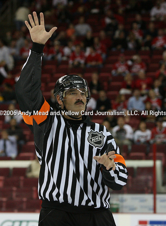 29 September 2006: Referee Don Van Massenhoven. The Carolina Hurricanes lost 4-1 to the Columbus Blue Jackets at the RBC Center in Raleigh, North Carolina in a 2006-07 National Hockey League preseason game.