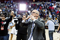 Washington, DC - MAR 10, 2018: Rhode Island Rams head coach Dan Hurley thanks the fans after defeating Saint Joseph's in the semi final match up of the Atlantic 10 men's basketball championship between Saint Joseph's and Rhode Island at the Capital One Arena in Washington, DC. (Photo by Phil Peters/Media Images International)