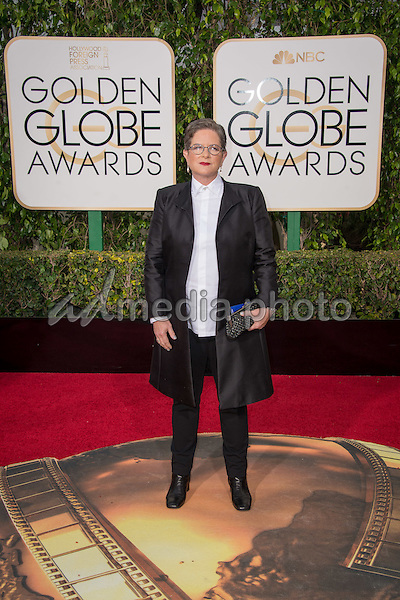 Screenwriter Phyllis Nagy arrives at the 73rd Annual Golden Globe Awards at the Beverly Hilton in Beverly Hills, CA on Sunday, January 10, 2016. Photo Credit: HFPA/AdMedia