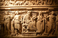 The Archaeological Museum in Istanbul, Turkey: detail from the Sidamara Sarcophagus from Ambararasi (Konya), Roman period, 2nd half of 3rd century AD